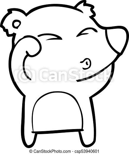 frottement, fatigué, yeux, ours, dessin animé - csp53940601