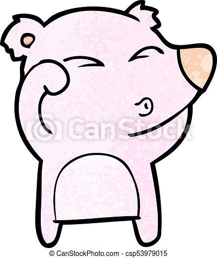 frottement, fatigué, yeux, ours, dessin animé - csp53979015
