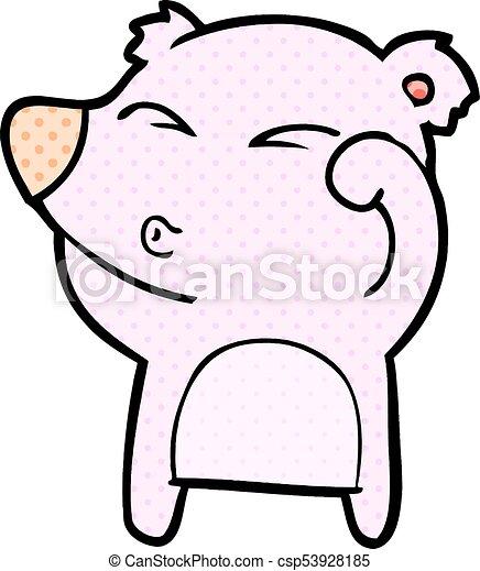 frottement, fatigué, yeux, ours, dessin animé - csp53928185