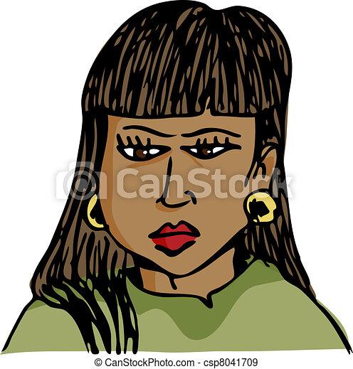 Frowing Hispanic Woman - csp8041709