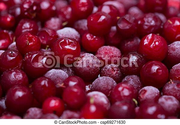 Frozen berries of cranberries - csp69271630