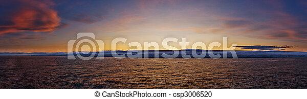 Frozen Coastline at Sunset - csp3006520