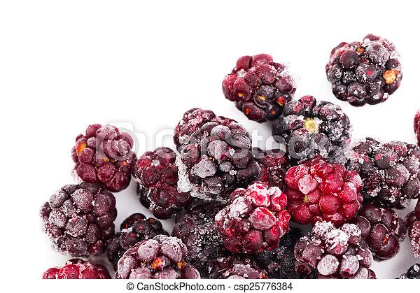 Frozen dewberries isolared on white background. Shallow depth of - csp25776384