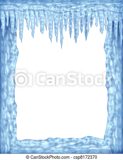 Frozen frame of icicles and ice with white blank area - csp8172370
