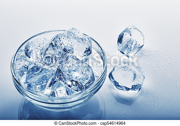 Frozen Ice Cubes In Glass Plate