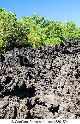 frozen lava flow after volcano Etna eruption - csp45801524