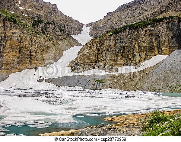Frozen mountain lake