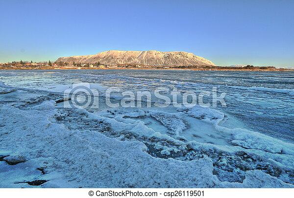 Frozen river in Selfoss, Iceland - csp26119501