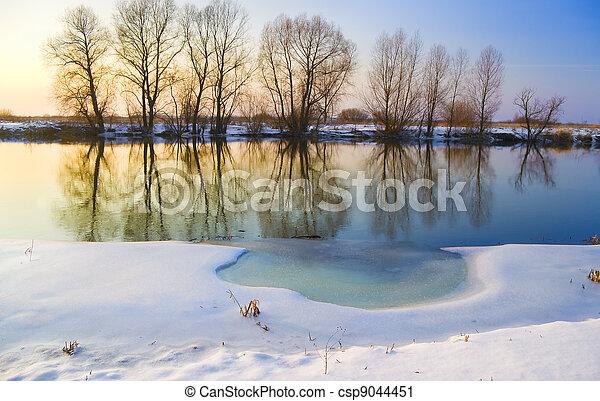 frozen river - csp9044451