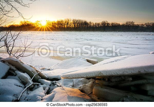 Frozen River Sunrise - csp25636593
