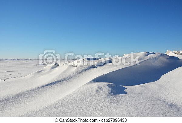 Frozen sea shore at the winter season - csp27096430