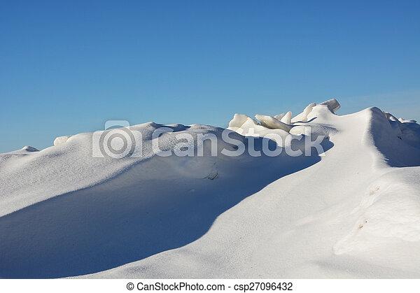Frozen sea shore at the winter season - csp27096432
