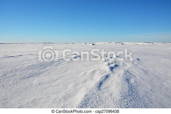 Frozen sea shore at the winter season - csp27096438