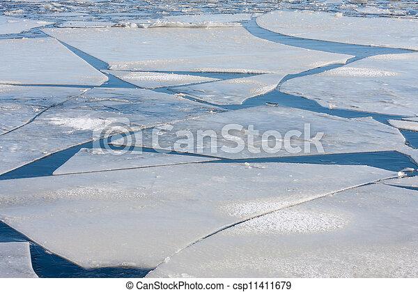 Frozen sea with big ice floes  - csp11411679