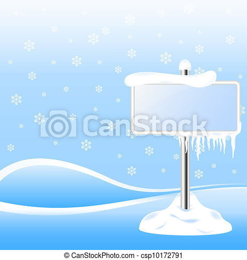 Frozen sign with icicles - csp10172791