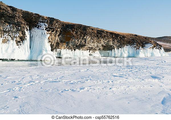 Frozen Water Lake Baikal Siberia Russia Winter Season