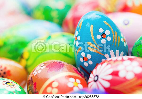 fruehjahr, eier, handgearbeitet, muster, collection., ostern, kunst, unique. - csp26255572