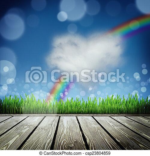 Spring Natur Hintergrund mit Gras - csp23804859