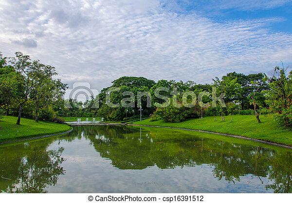 fruehjahr, park, see, landschaftsbild - csp16391512