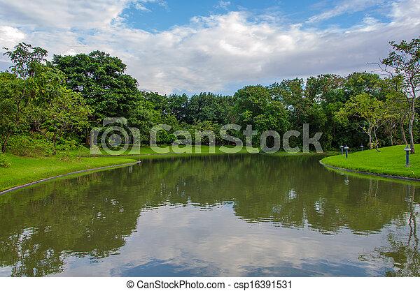 fruehjahr, park, see, landschaftsbild - csp16391531