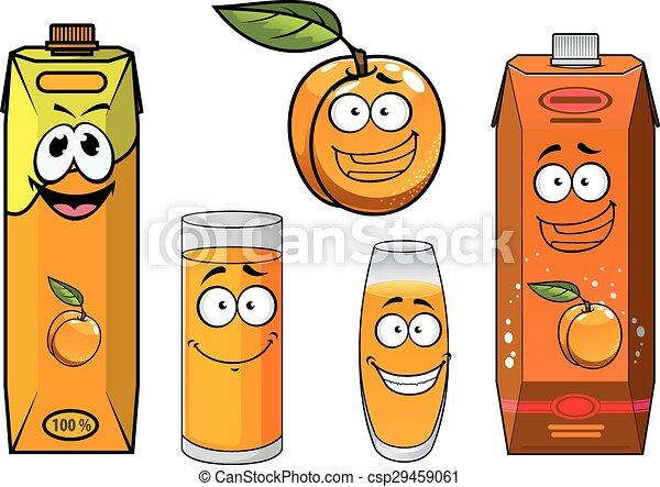Fruit Abricot Lunettes Dessin Animé Jus