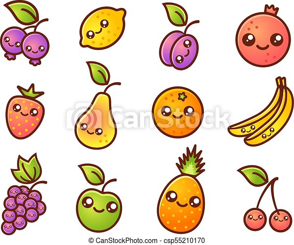 Fruit And Berries In Manga Style