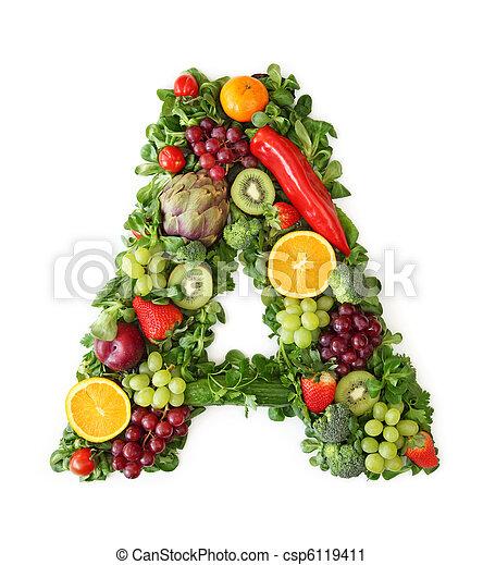 Fruit and vegetable alphabet - csp6119411