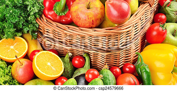fruit and vegetables background - csp24579666