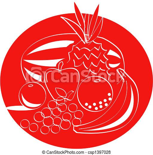 fruit, art, agrafe - csp1397028