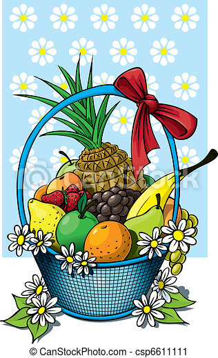 Fruit Basket A Beautiful Fruit Basket Of Wicker With A Fruit Selection Canstock