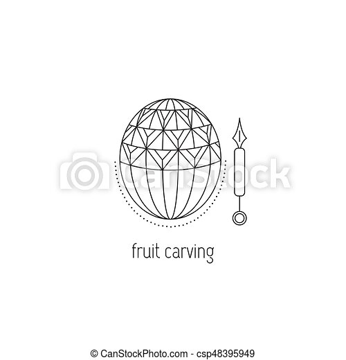 fruit carving line icon fruit carving vector thin line icon