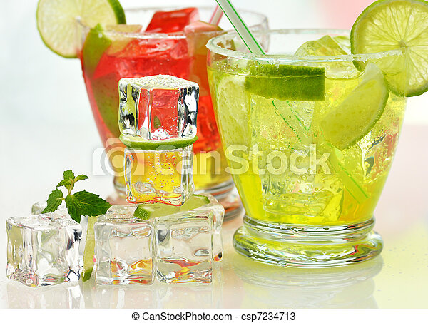 fruit cocktails with ice cubes - csp7234713