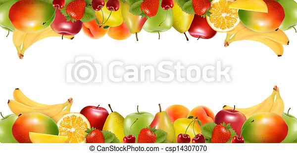 Dos fronteras hechas de deliciosa fruta madura. Vector. - csp14307070