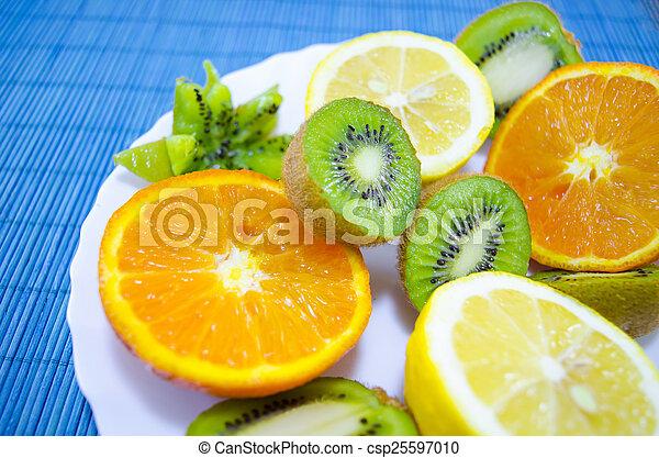 Fruit dessert on a plate - csp25597010