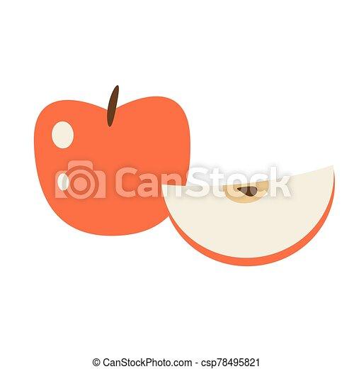 fruit, entier, pomme rouge, dessin animé, illustration., sliced., vecteur, isolé - csp78495821