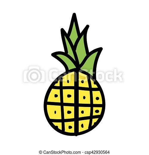 Fruit Frais Ananas Dessin Icône