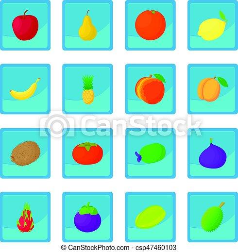 Fruit icon blue app - csp47460103