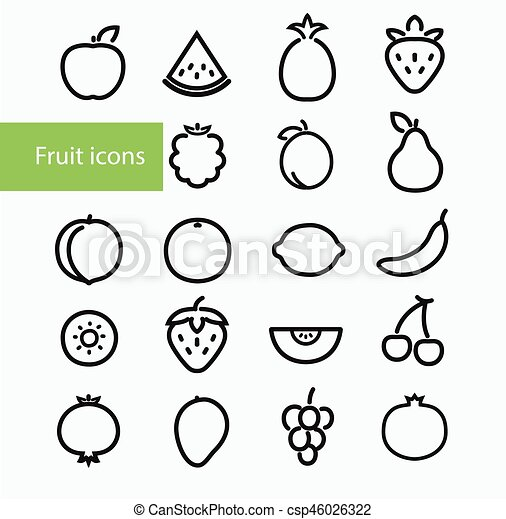 Fruit icons - csp46026322