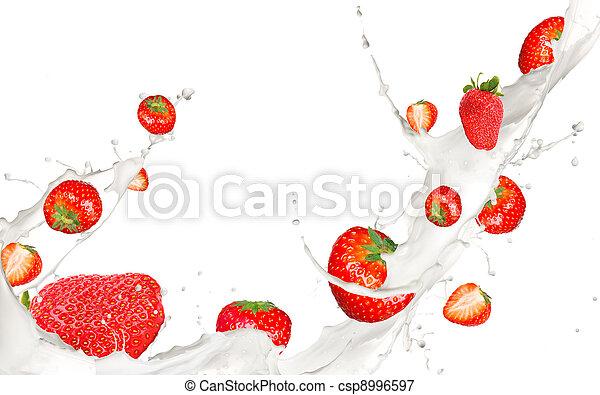Fruit in milk - csp8996597