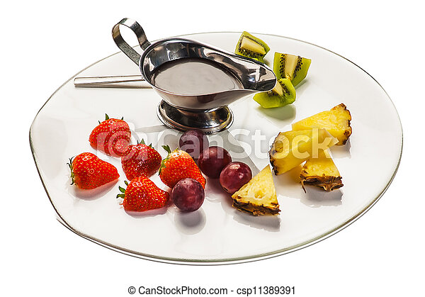 Fruit on a plate - csp11389391