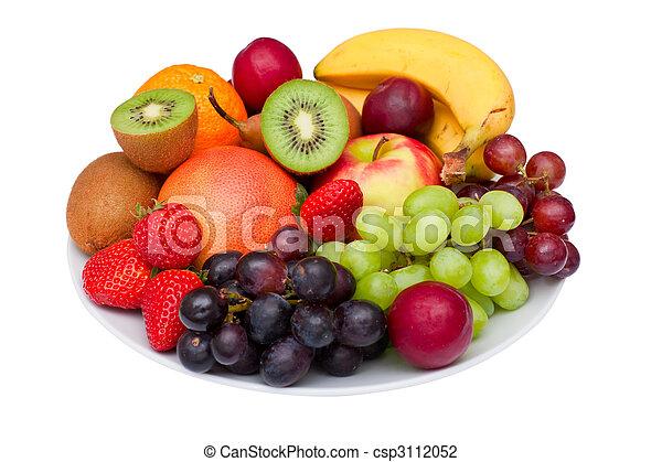 Fruit platter isolated on white. - csp3112052
