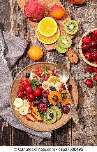 fruit salad for breakfast - csp37608495