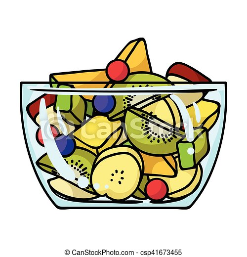 fruit salad icon in cartoon style isolated on white clipart rh canstockphoto com