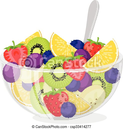 fruit salad in glass bowl healthy vegetarian food meal isolated on rh canstockphoto com Fruit Cup Clip Art fruit salad clipart black and white