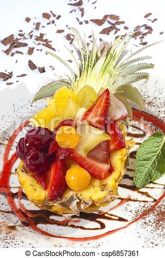 Fruit salad in pineapple - csp6857361