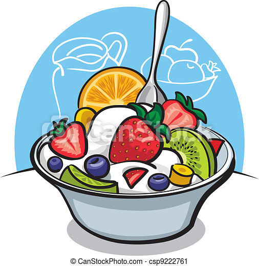 fruit salad with yogurt and strawberry vector clip art search rh canstockphoto com  fruit salad clipart black and white
