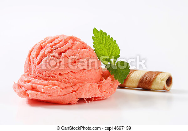 Fruit sherbet and chocolate wafer curl - csp14697139