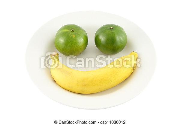 Fruit smile dish on white background. - csp11030012