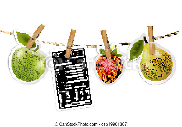 Fruit stickers and a nutrition label hanging on a rope. Vector. - csp19901307