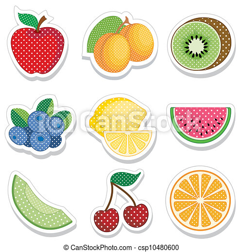 Fruit Stickers in Polka Dots - csp10480600